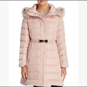 Kate Spade Belted Aline Faux Fur Down Coat